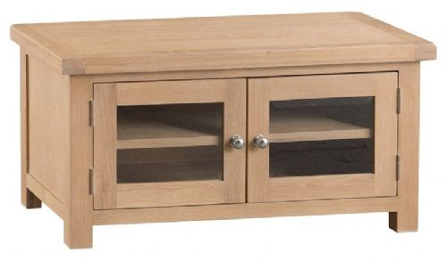 Oxford Oak 2 Door Glazed TV Unit